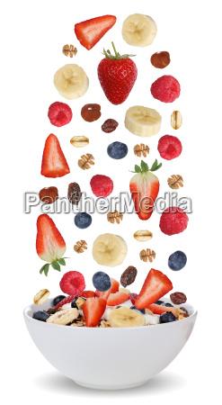 ingredients for fruit muesli in bowl