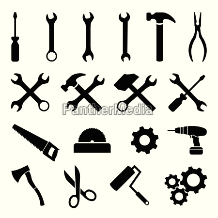 set schwarze flache ikonen werkzeuge