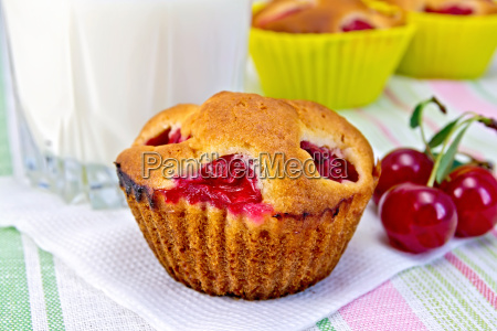 cupcake with cherries and milk on