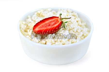 curd in white bowl with strawberries