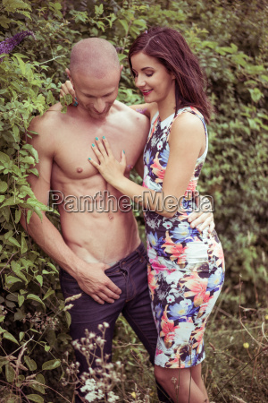 beautiful couple posing very sexy on