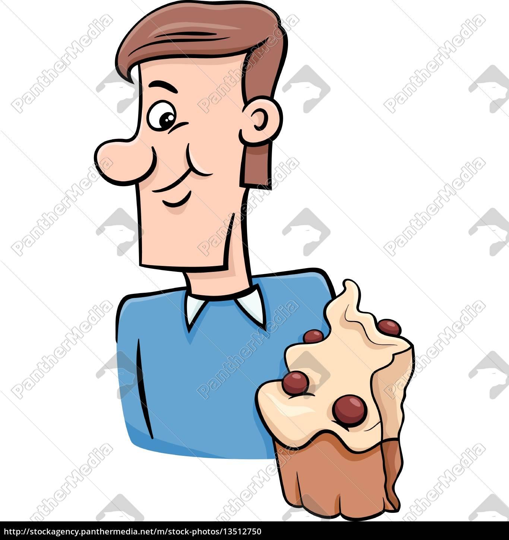Mann Mit Kleinem Kuchen Cartoon Stockfoto 13512750