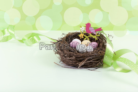 easter basket with green background