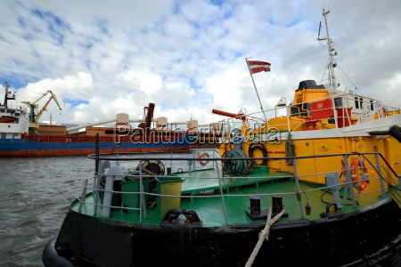 towboat waiting in harbour