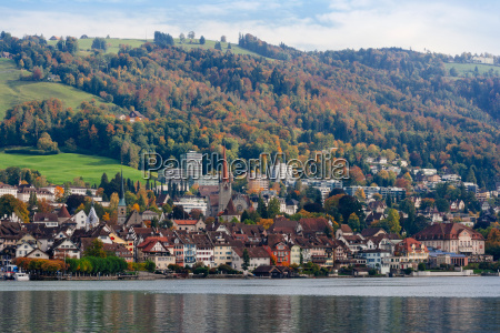 city of zug switzerland during autumn