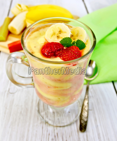 dessert milk strawberry and banana on