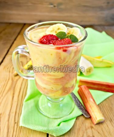 dessert milk with rhubarb and banana