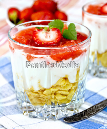 dessert milk with strawberry and flakes