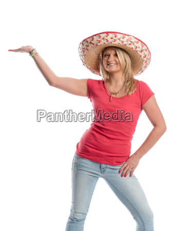 woman with sombrero holding a presentation
