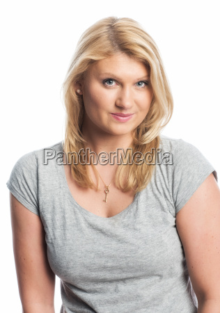 blonde woman in t shirt
