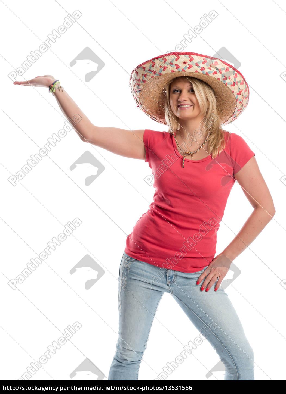 frau, mit, sombrero, hält, eine, präsentation - 13531556