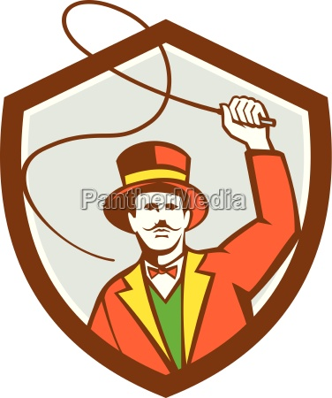 zirkus ring meister bullwhip schild retro