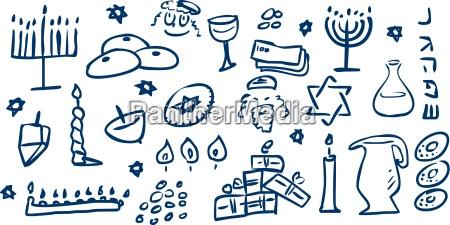 hanukkah symbole doodles