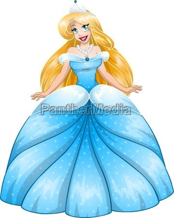 blonde prinzessin im blauen kleid
