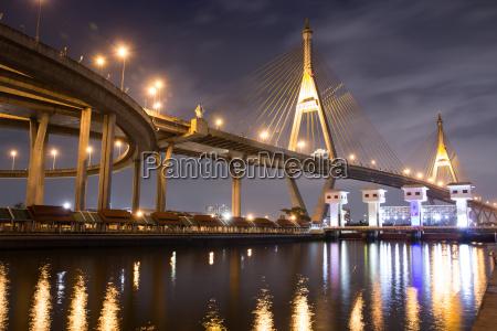 bridge construction on night landscape