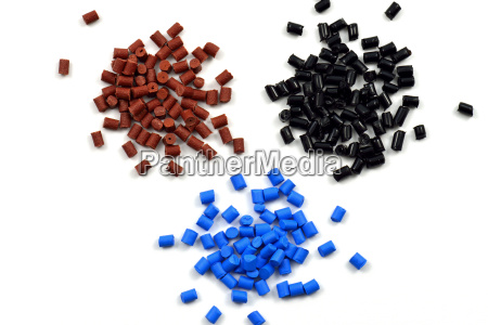 differently coloured plastic granules
