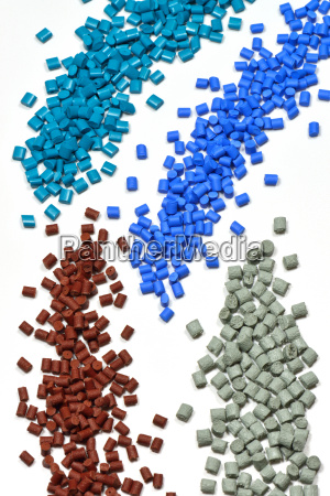 differently colored plastic granules
