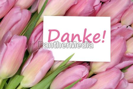 danke geschenk karte mit tulpen blumen