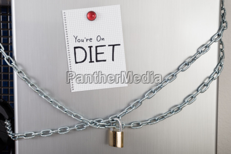 note with diet text on locked