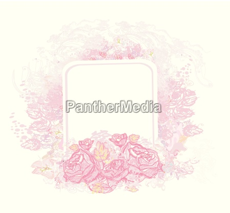 retro greeting card with pink roses