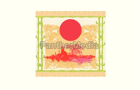 abstract card with asian buildings frame