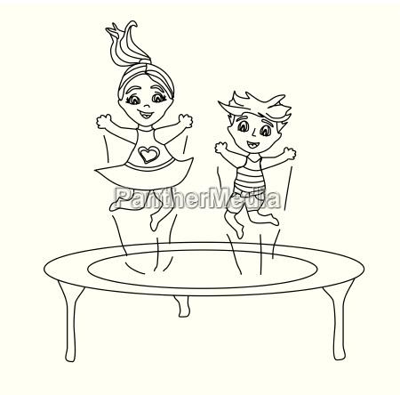 zwei lustige kids springen auf trampolin