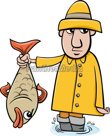 angler mit fisch cartoon