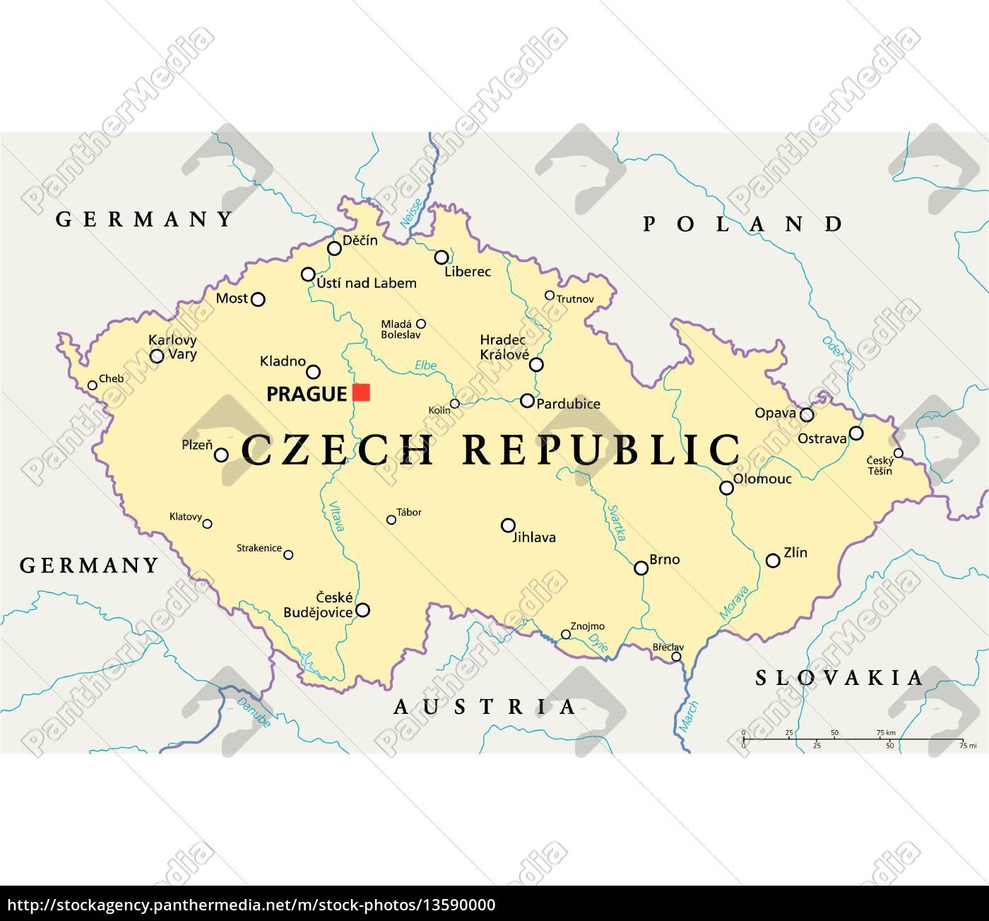 Tschechische Republik Politische Karte Lizenzfreies Foto