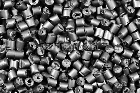 silver colored plastic granules polymer