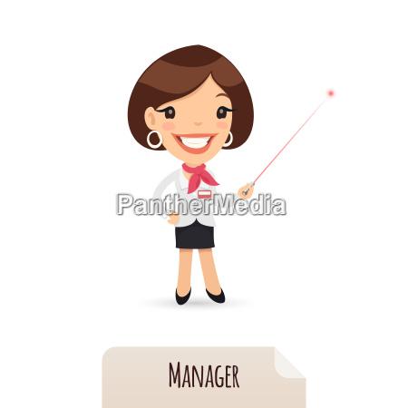 female manager mit laser pointer