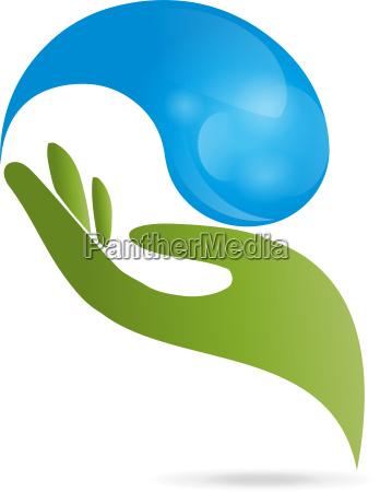 logo hand tropfen wasser