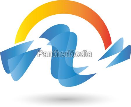 logo wellen wasser sonne