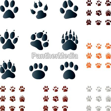 pfoten zeichen symbole buttons