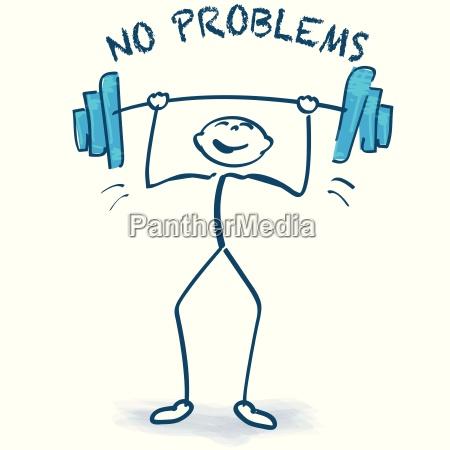 strichmaennchen mit gewichtheben und keine probleme