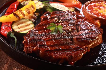 grilled steak on cast iron pan