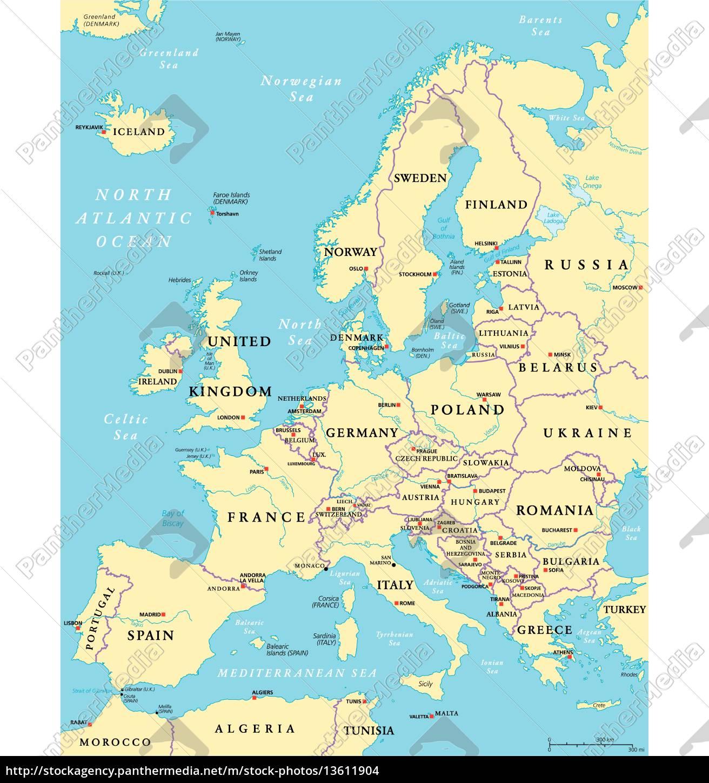 landkarte von europa politische landkarte von europa   Lizenzfreies Foto   #13611904  landkarte von europa