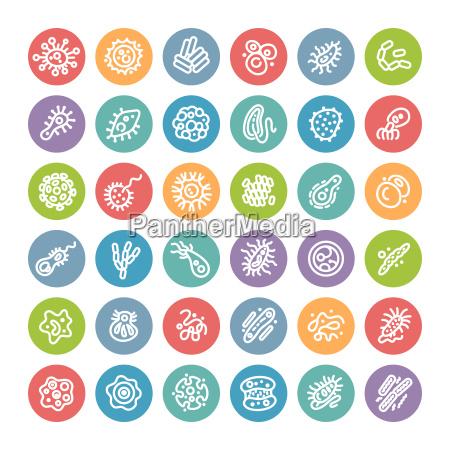 conjunto de iconos planos redondos con