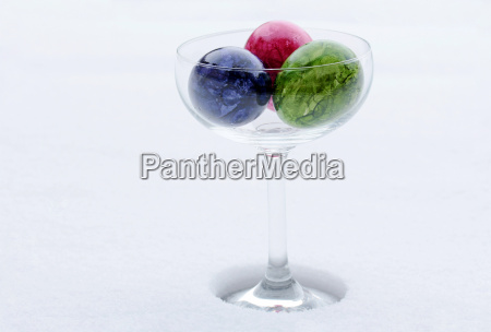 easter eggs in a glass