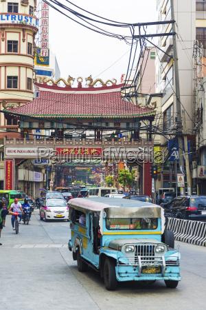 jeepney bus in manila town in