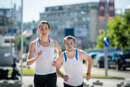 jogging together