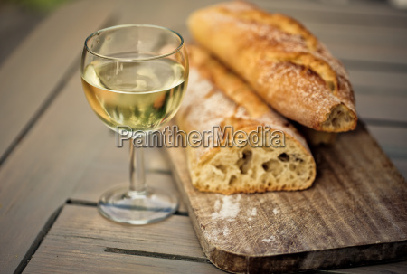 baguette and white wine
