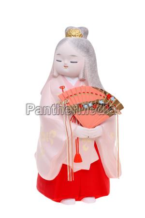 traditionelle japanische hakata puppe getrennt auf
