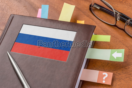 calendar with the flag of russia