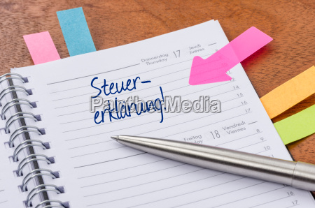 terminkalender, mit, hinweissticker, -, steuererklärung - 13623682