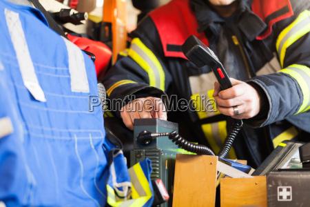 firefighter on the radio
