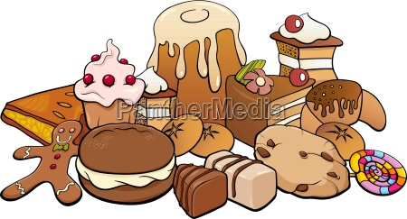 sweets group cartoon illustration