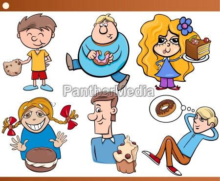 kids and sweets set cartoon