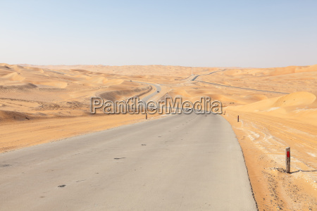 road through the desert in liwa