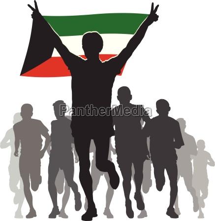 athlet mit der kuwait flagge im