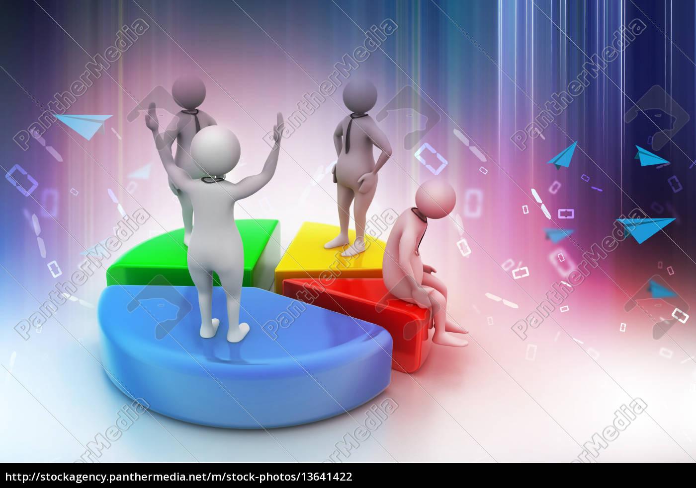 3d-menschen, mit, kreisdiagramm, business-wettbewerb - 13641422